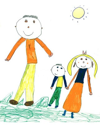 a child often draws family members in a particular order and might place themselves close to the person they feel closest to in the family - Painting Sketches For Kids