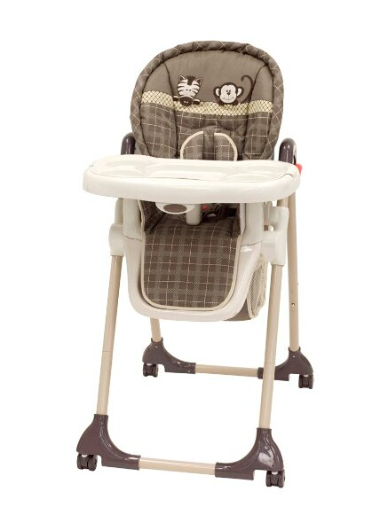 this high chair has good adjustable features you can recline it to 3 different levels and adjust the height to 6 different levels as well