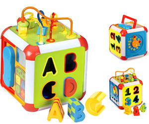 This Is The Type Of Toy Shaped In A Cube Shape And Each Side Has A Different Type Of Interesting And Educative Game For Your Child