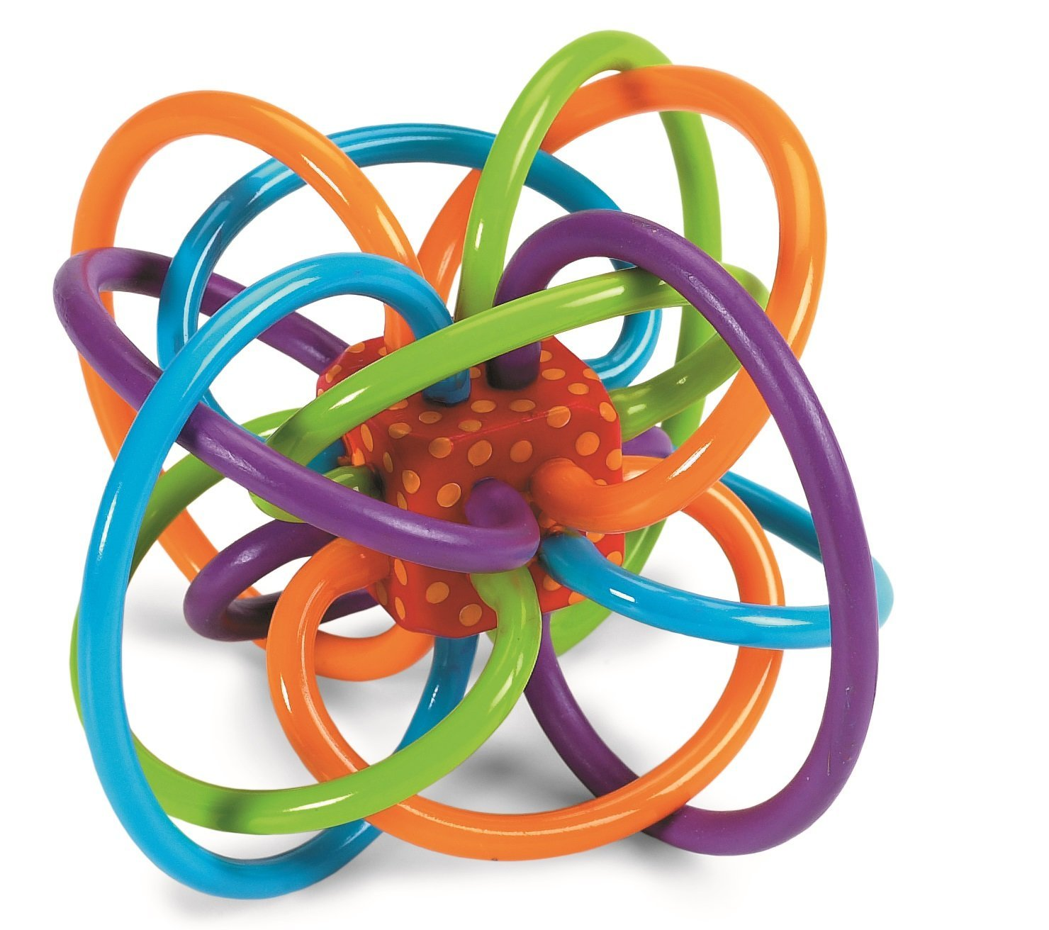 The Manhattan Toy Winkel Rattle and Sensory Teether Activity Toy is made up  of soft plastic loops in bright colors. Babies can easily grasp the loops  with ... e8a7d53220